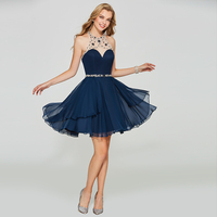 Tanpell halter homecoming dress dark navy beaded sleeveless above knee a line gown women prom party customed homecoming dresses