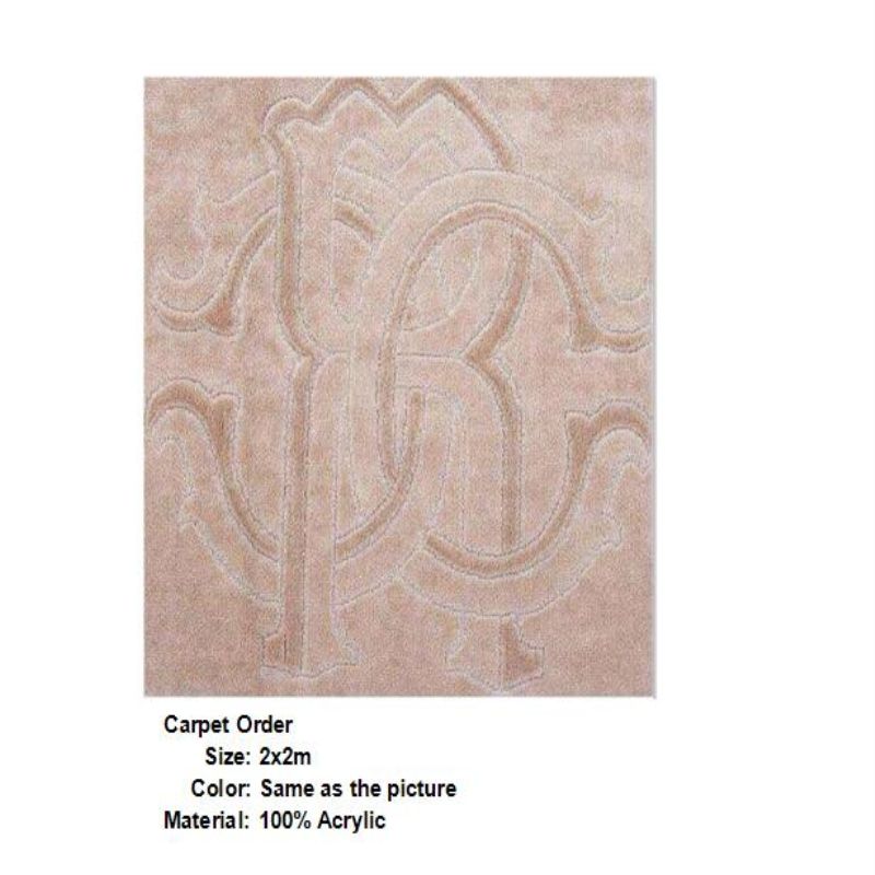 High Quality European Modern Style Acrylic Beige Ligth Brown Color Carpet 2x2 m Living Room Rug
