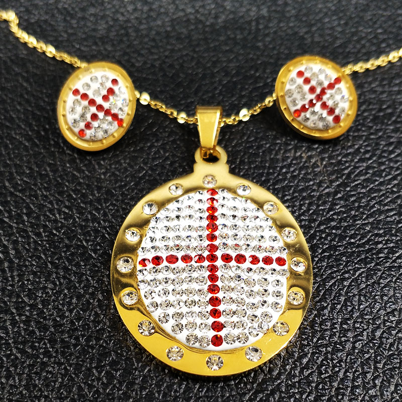 2017 Fashion Big Cross Stainless Steel Jewelry Set for Women Jewelry Gold Color Earrings Necklace Set Jewelry taki seti S178256