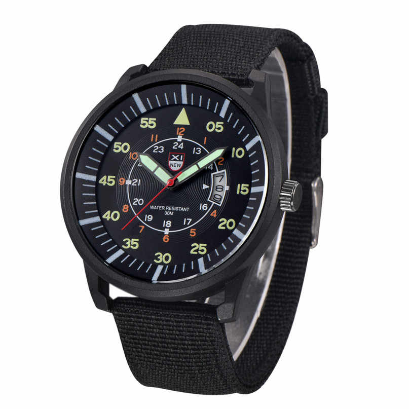 venta caliente online 96e62 76f21 Mens Watches Relojes Hombre Luminous Watches 2018 New Date Day Police Black  G10 Nylon Fabric Strap Quartz Watches #4A23