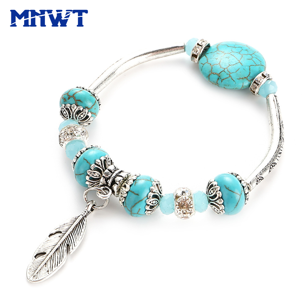 MNWT Vintage Turquoises Beads Women Bracelet Beaded Bracelets Green White Women's Bangles Fashion Ethnic Jewelry Pulseras Mujer