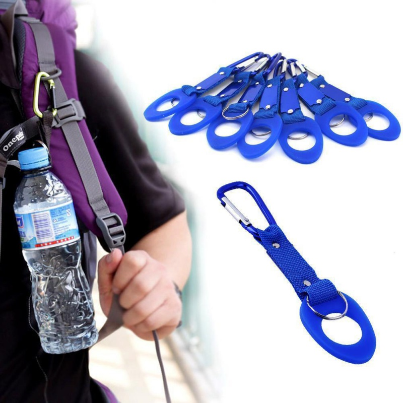 2018 high quality Sports Outdoor Kettle Buckle Carabiner Water Bottle Holder Camping Hiking Aluminum Rubber Buckle Hook