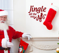 Jingle All The Way Decal Quotes Christmas Decor Waterproof Vinyl Wall Stickers Home Interior Decor Living