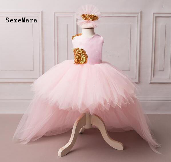 Real Picture pink flower girl dress with golden sequins V-back high low with long train puffy tulle baby birthday party dresses цена 2017