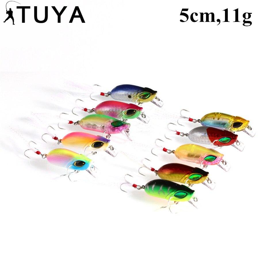 TUYA 10ks / Set Hmyz Crankbait Rybářská návnada Hard Bass Klika Minnow Wobbler float Umělá návnada 5cm 11g