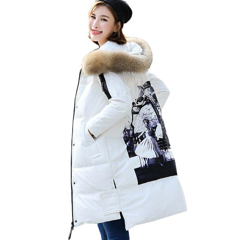 100% QualitäT Frauen Parkas Winter Unten Jacke 2018 Neue Mode Waschbären Pelz Kragen Mit Kapuze Oberbekleidung Dicke Weiße Ente Unten Lange Jacken Coats457