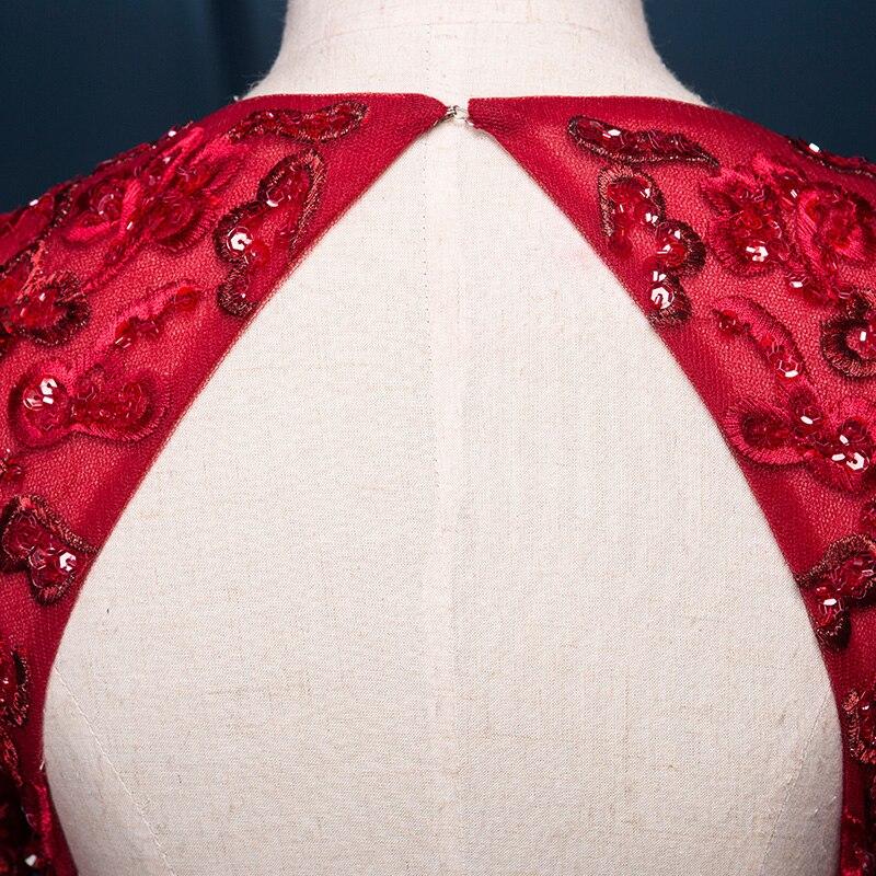 Luxury Red Arabic Evening Dress Lång 2018 Applique Bead V Neck Lång - Särskilda tillfällen klänningar - Foto 4