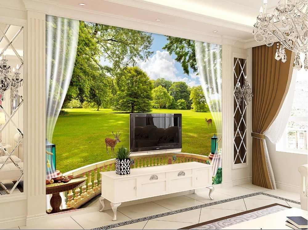 مخصصة 3d خلفيات النمط الأوروبي شرفة المراعي مشهد غابة الغزلان جدارية 3d خلفيات