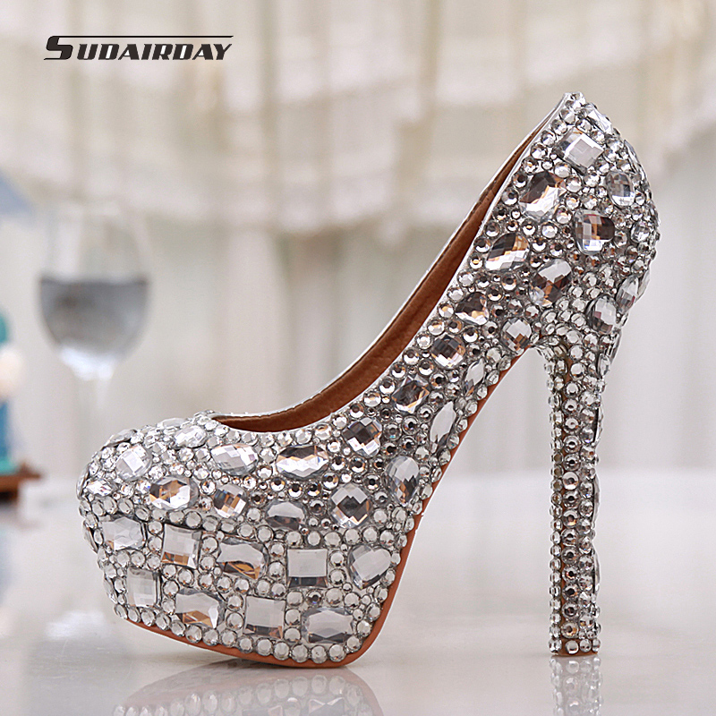 2016 New Women Shoes Pumps Handmade Female Noble Diamond Wedding Shoes Sexy Fashion Women's High Heels Dress Shoes Large 35-43 siketu 2017 free shipping spring and autumn women shoes fashion sex high heels shoes red wedding shoes pumps g107