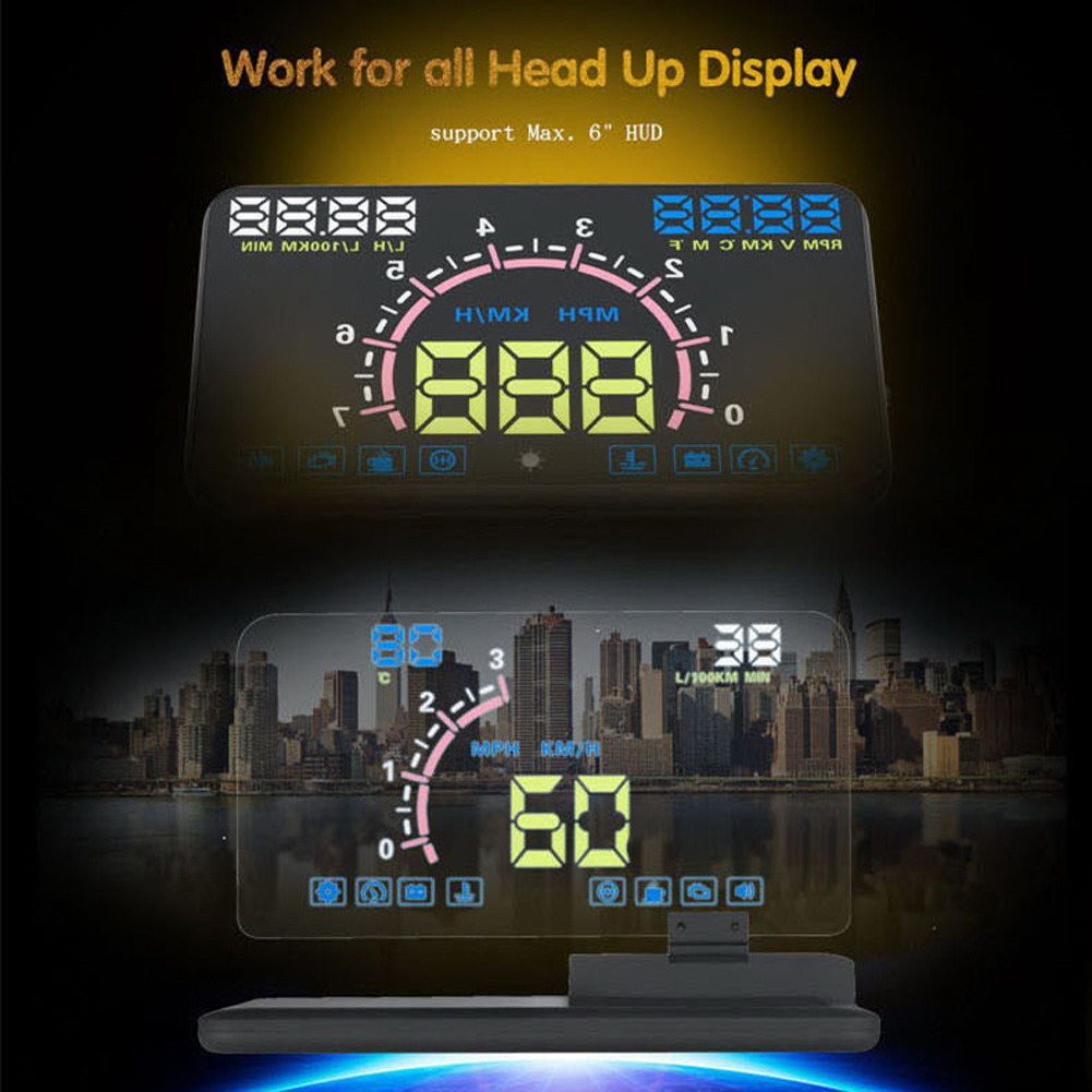 6 HUD Head Up Display Car HUD Auto LCD Digital Windscreen Projector Vehicle SUV Phone/GPS Navigation Holder Head Up Project