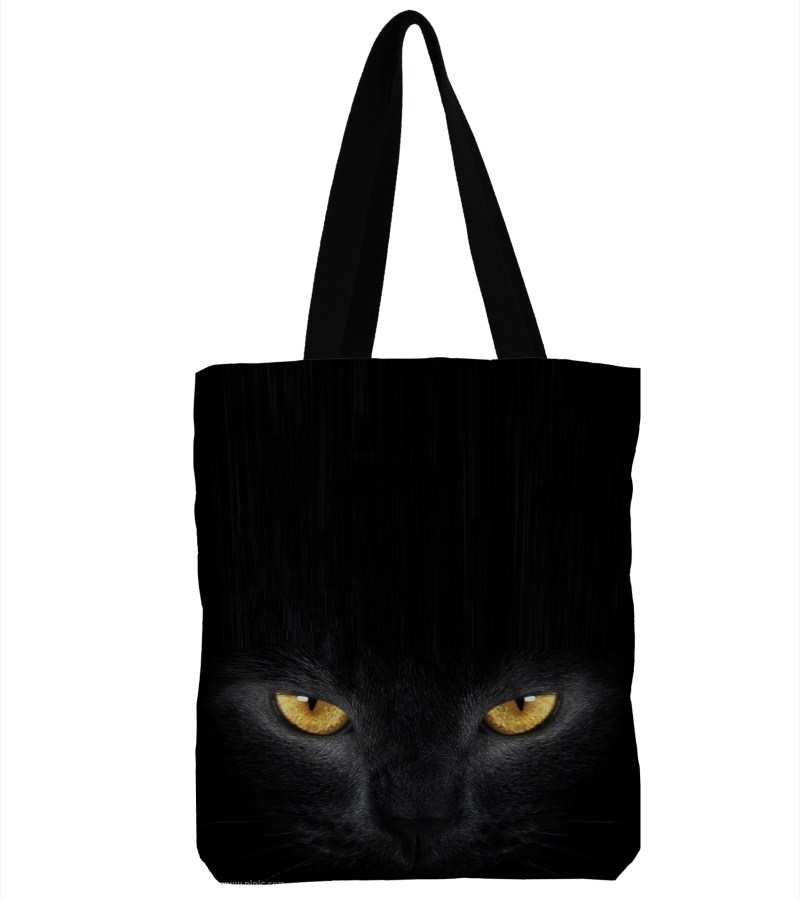 3D Printed Black Cat Canvas Shoulder Bag Handbag Large Soft Shopping Bag Canvas Beach Bag Tote -12