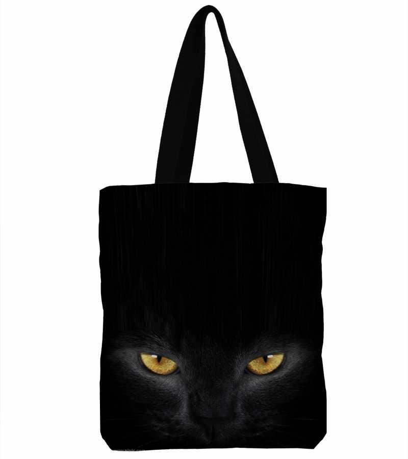 6c63ffdc1aad ZHBSLWT 3D Printed Black Cat Canvas Shoulder Bag Women Handbag Large  Capacity Soft Shopping Bag Female Canvas Beach Bag Tote -12