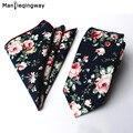 Mantieqingway Hombres Pañuelos Impresos Tie Set Moda Casual Floral Delgado 6 cm Trajes de Boda Corbatas Pañuelo y Corbata Conjuntos