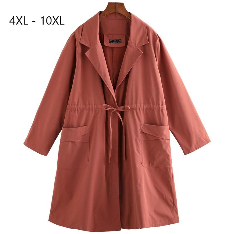 Plus Size 10XL 9XL 8XL 4XL Women Autumn Winter Long   Trench   Coat Female Causal A-line Full Length Sleeve Windbreaker For Women
