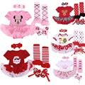 4 pçs/lote Presentes de Natal Do Bebê Menina Conjuntos de Roupas Infantis Bebe Tutu Vestido Romper Primeiro Natal de Papai Noel Trajes Vestidos de Aniversário