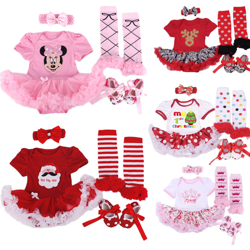 4pcs/Lot Xmas Gifts Baby Girl Infant Clothing Sets Santa Claus Tutu Romper Dress First Christmas Bebe Birthday Costumes Vestidos baby girl clothing sets christmas set lace tutu romper dress jumpersuit headband shoes 3pcs set bebe first birthday costumes