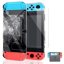 Nintend Switch NS Diamond Pattern Cover Case Shell Guard w/ Tempered Glass Screen Protector For Nintendos Accessories
