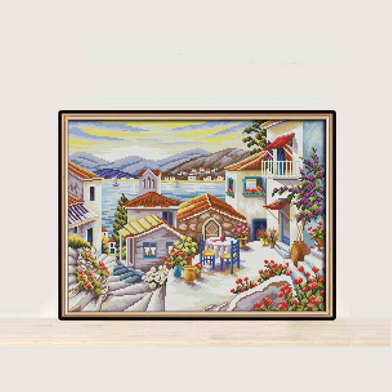 Joy Sunday Beach house cross stitch embroidery set printing cloth embroidery kit needlework Scenery pattern cross stitch set in Package from Home Garden