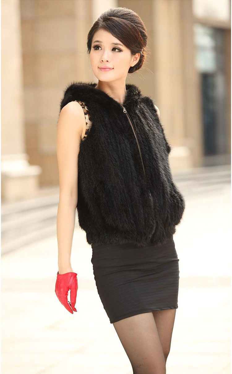 Knitted Mink Fur Vest Women's Short Mink Fur Jacket With a Hood Winter Luxury Mink Fur Waistcoats Free Shipping EMS F284