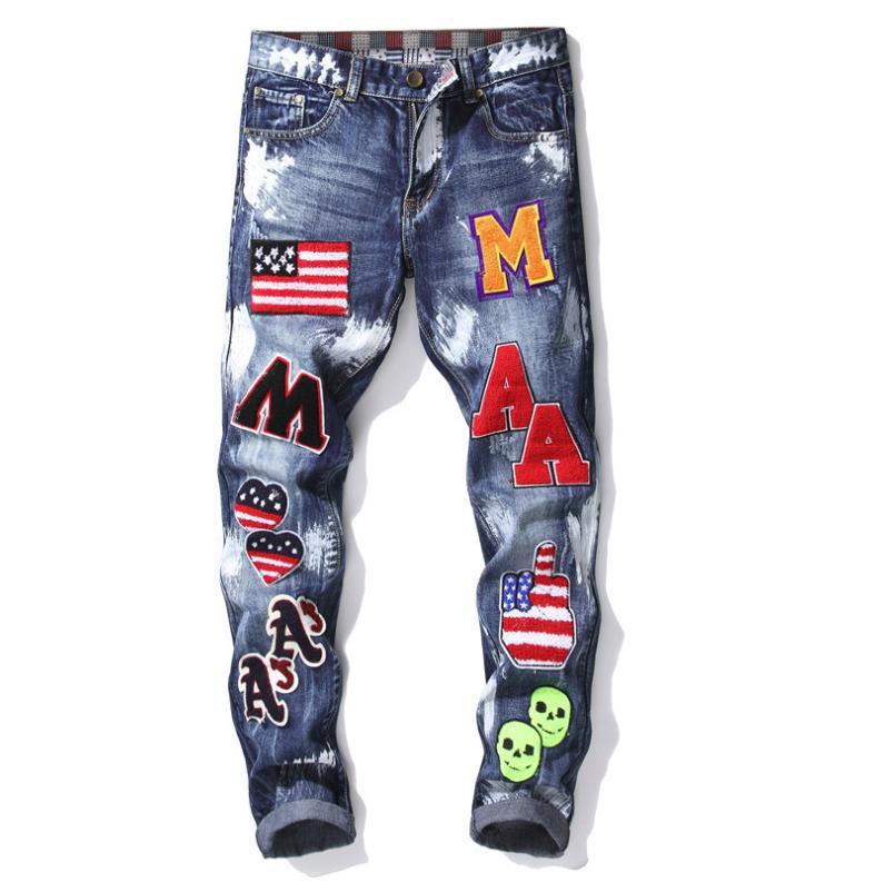 男性のパッチ手紙刺繍米国旗バッジストレートジーンズオイル洗浄ブルーバイカージーンズスリムヒップホップズボン 896  グループ上の メンズ服 からの ジーンズ の中 1