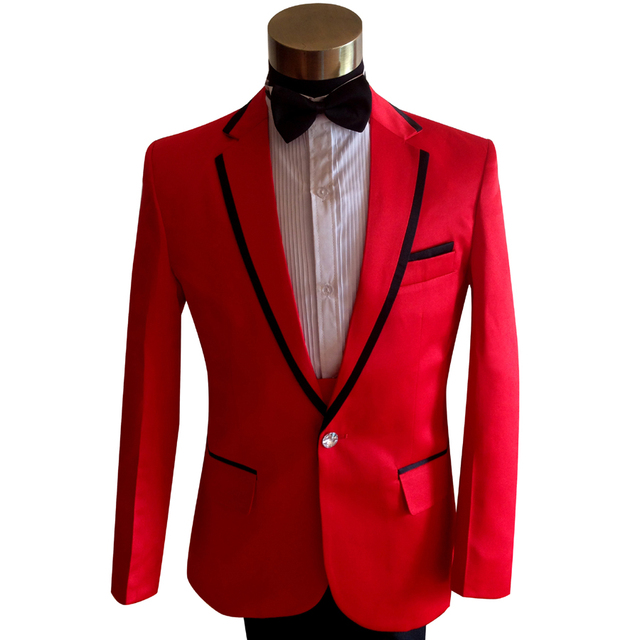 731820336c Passionate Slim Red Wedding Formal Dress Suits S 3XL Plus Size Men Singer  Host Magician Performance Nightclub Party Clothing Set-in Suits from Men's  ...