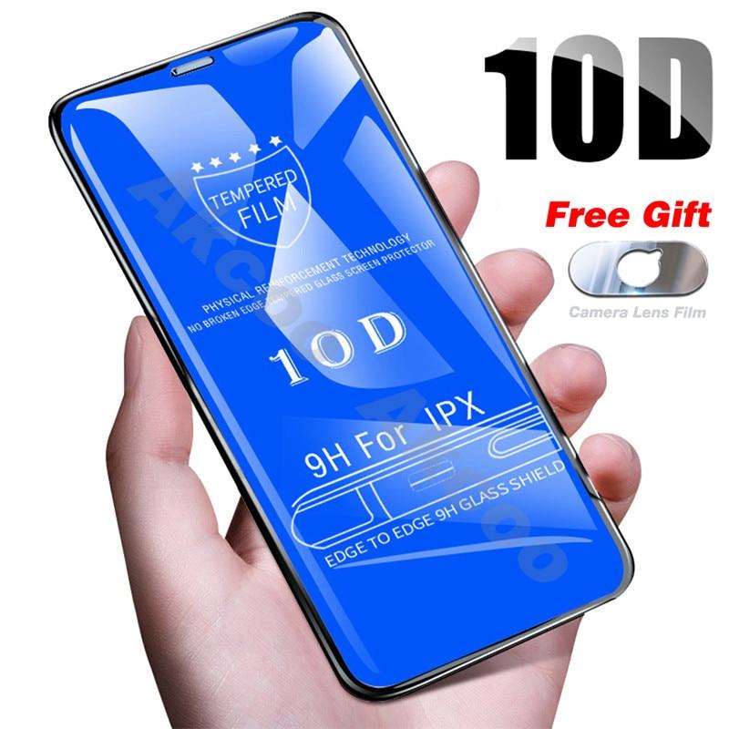 Vidro Temperado no Para o iPhone X 8 10D 7 6 Plus Protetor de Tela Tampa De Vidro De Proteção Completa Para o iphone filme Max XR 6 7 6S XS