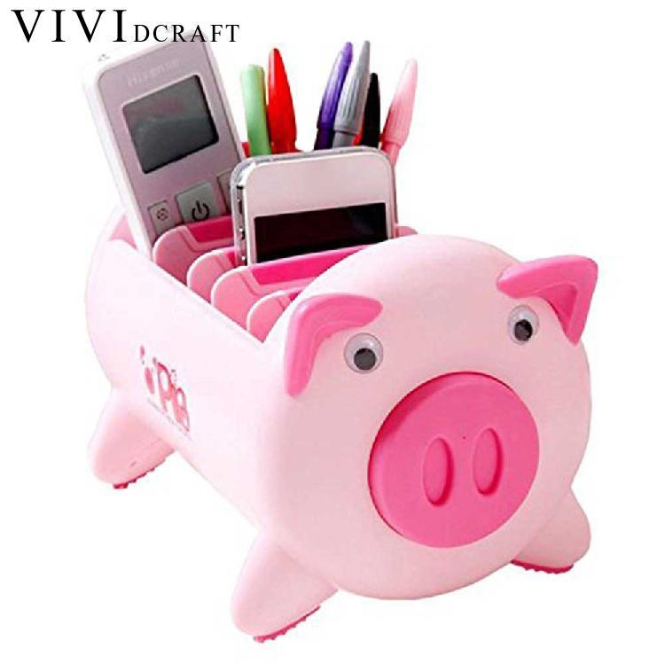 Creative Desk Organizer Kawaii Cartoon Pink/black Pig Pen Holder Desk  Accessories Korea Stationery Storage Box Office Supplies