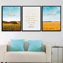 Beautiful Yellow Paddy Fields Desert Painting Home Decor Poster Nordic Style Canvas Print Quotes Pictures Living Room Wall Art(China)