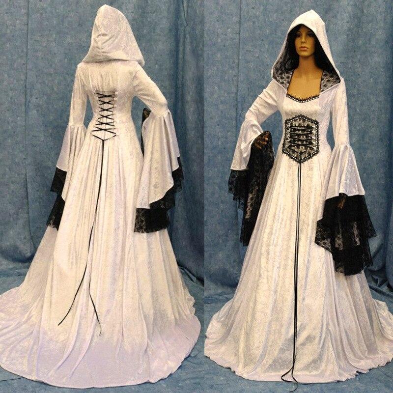 Mujeres Vintage Medieval pagano boda Vestido con capucha romántico fantasía vestido hasta el suelo vestido renacentista Cosplay bruja Retro