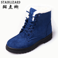 Winter Women Snow Boots Casual Bowtie Flats Women Boots Leisure Ankle Boot Solid Comfortable Round Toe