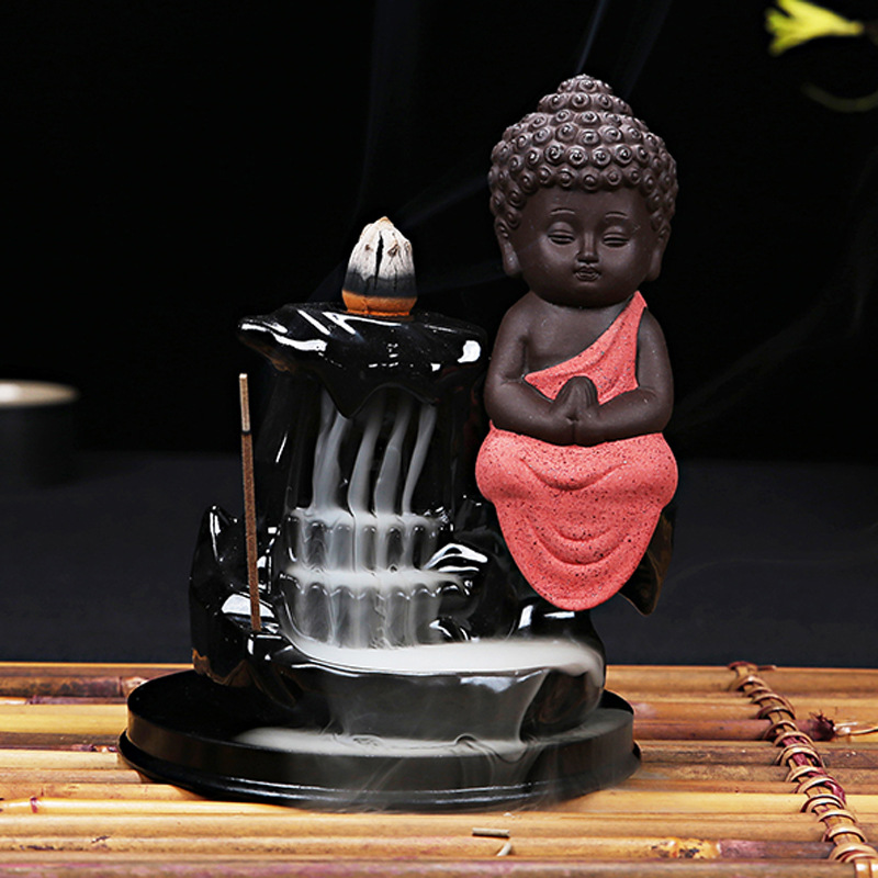 1Pcs Incense Cones Burner Creative Home Decor The Little Monk Small Buddha Censer Backflow Incense Burner Use In Home Teahouse