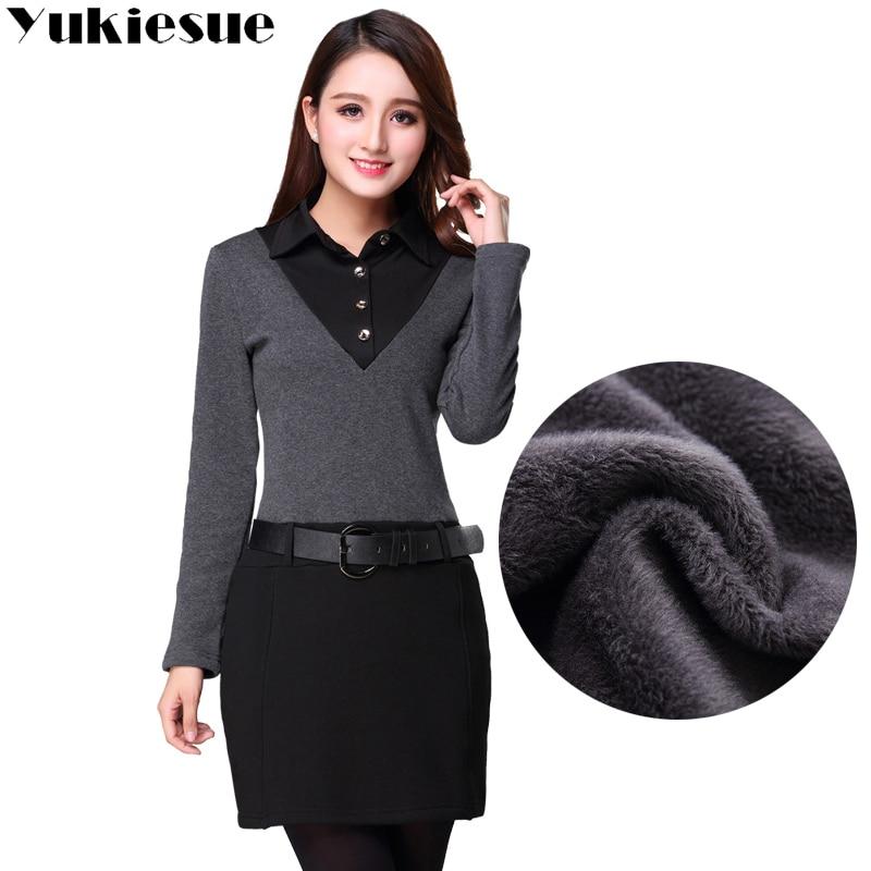 Vestidos Verano 2018Winter Warm Fleece Dress Women OL Office Patchwork Fake 2 Pieces Pencil Dresses Female Plus Size Bodycon