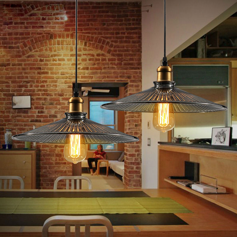 Industrial Meets Rustic In This Kitchen: Pendant Lights Vintage Industrial Kitchen Fixture Rustic
