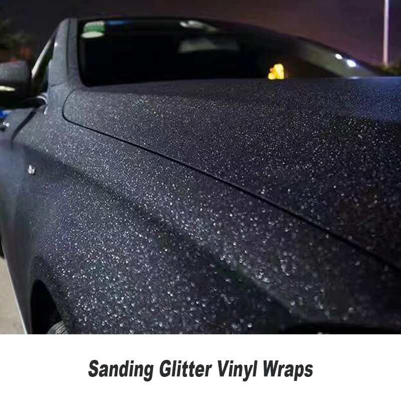 MATTE BLACK Sanding pearl Glitter Vinyl Wrap air bubble free Sparkle Glitter Vinyl for car wrapping 5ft X 98ft/Roll