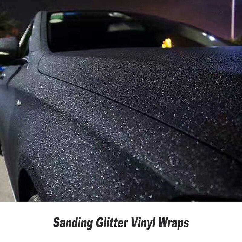 Perle de ponçage noire mate paillettes vinyle Wrap air bulle sans paillettes vinyle pour emballage de voiture 5ft X 98ft/Roll