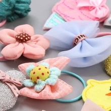 New Little Girls Cute Bow Cartoon Animal Flower Elastic Hair Bands Kids Ponytail Holder Princess Rubber Accessories