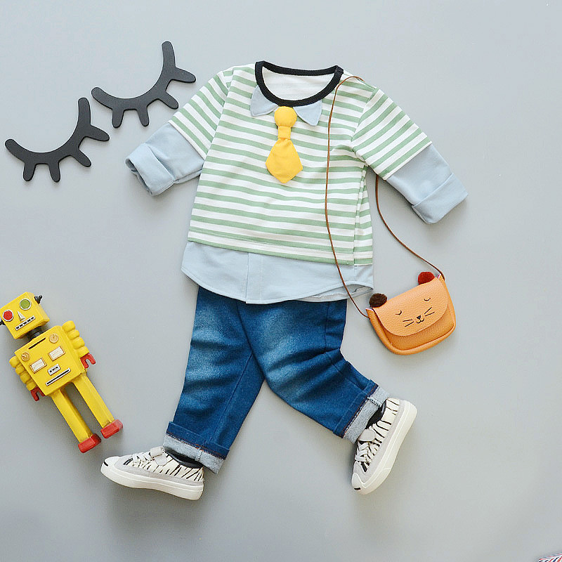 2017 autumn Spring baby boy girl clothes sport suit stripe suit baby clothing set Long sleeve Jean pant Baby boy clothes SKB16 (1)