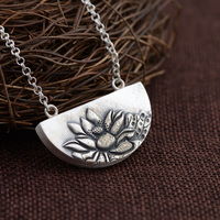 Real Pure Sterling Silver 925 Pendant For Women With Lotus Engraved Personalized Lucky Pendant Colgante Plata 925