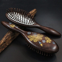 2019 Top Fashion Hairbrush Hair Brush Hair Care Hot Sale Of High grade Pure Natural Ebony Comb Airbag Massage
