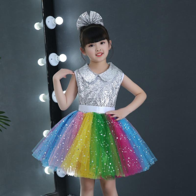 d51976f11269 2018 Childrens fancy dress modern salsa Sequins dancing dress of ...