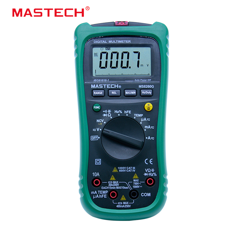 MASTECH MS8260G Auto Range Digital Multimeter ohm voltage and current Capacitance Frequency Temperature Meter with NCV