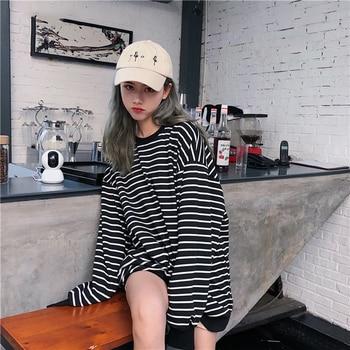 Hoodies Women Elastic Cuff Hem O-Neck Striped Loose Retro Chic Korean Style Harajuku Soft Trendy Sweatshirts Womens All-match 2
