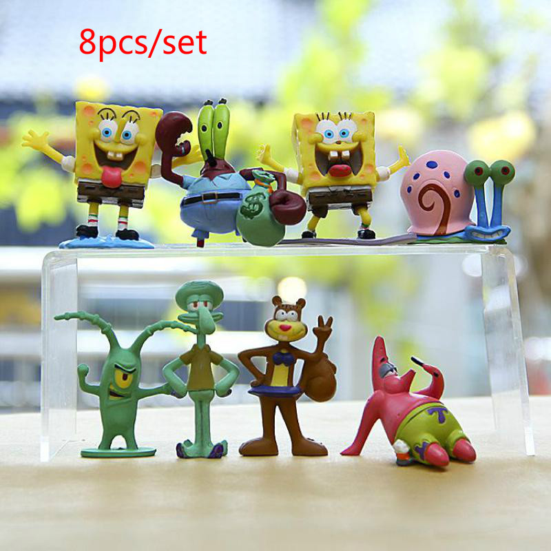 6 / 8pcs Resin Spongebob Akuarium Hiasan Kartun Spongebob Series Figures Taman Ikan Tangkai Ornament Squidward Kalsel, Krabs