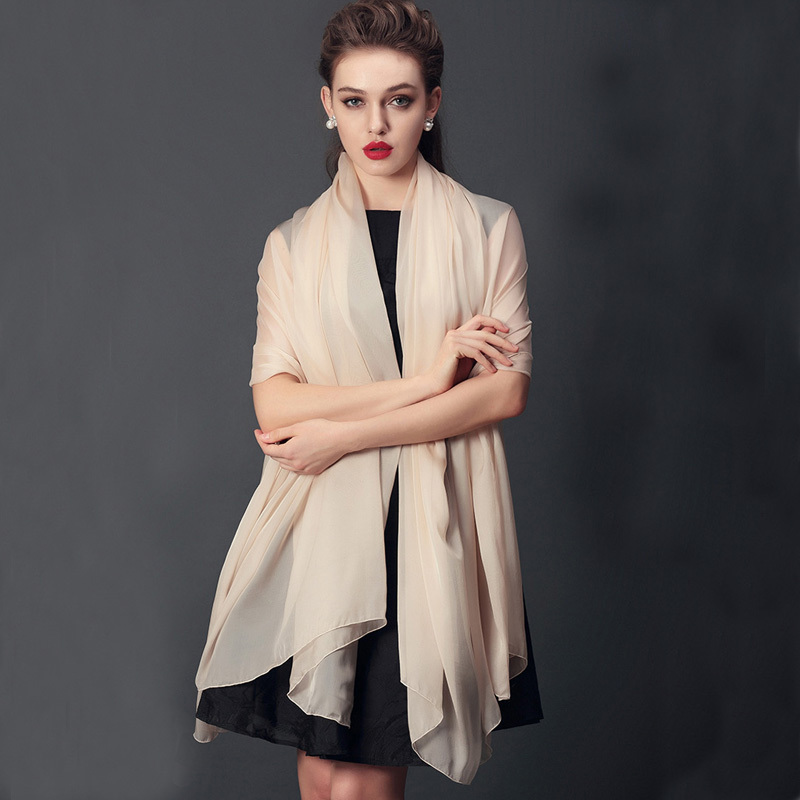 [LESIDA]Silk Chiffon Shawls And Hijabs,180 * 110CM Large Summer Silk Scarves,Khaki Color Women Scarves And Stoles,Pareo 2002