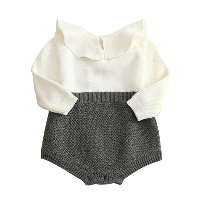 Lovely 2017 Baby Girls Infant Rompers Long Sleeve Jumpsuits Ruffles Princess Girl Sweet Knitted Overalls Infant Romper 9-36M lovely 2017 baby girls infant rompers long sleeve jumpsuits ruffles princess girl sweet knitted overalls infant romper 9 36m