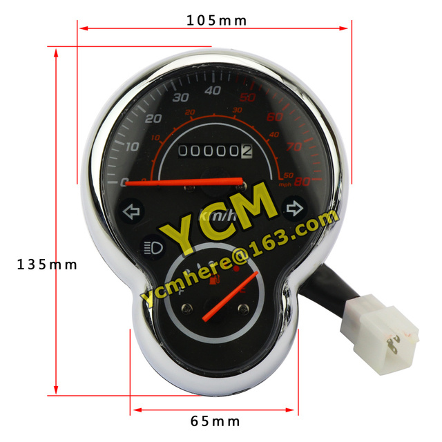 Scooter Instrument Motorcycle Speedometer Tachometer Chinese Moped Meter YB-XGW