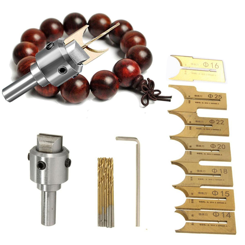 16pcs Carbide Ball Blade Woodworking Milling Cutter Molding Tool Beads Router Bit Drills Bit Set 14