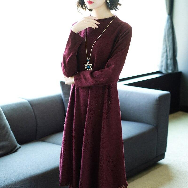 Solide Gland Tricoté L'europe Asymétrique Chaude Haute Femme Robe rouge Lâche Laine cou Printemps Vert 2018 Femmes Couture Robes Tendance Nouveau O aq8pPwn