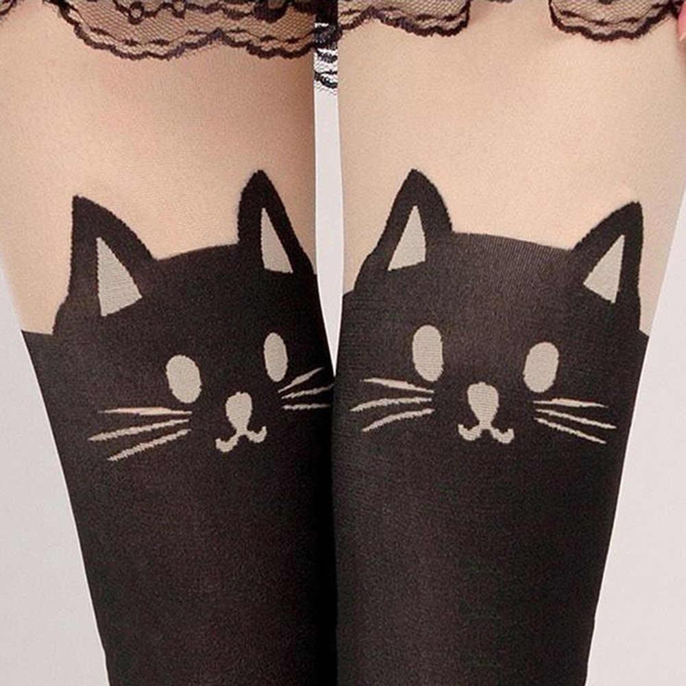 ... Летний стиль сексуальные чулки для женщин милый кот хвост леггинсы  женские чулки с мультфильмами сексуальные тонкие ... c5589e6514a5b