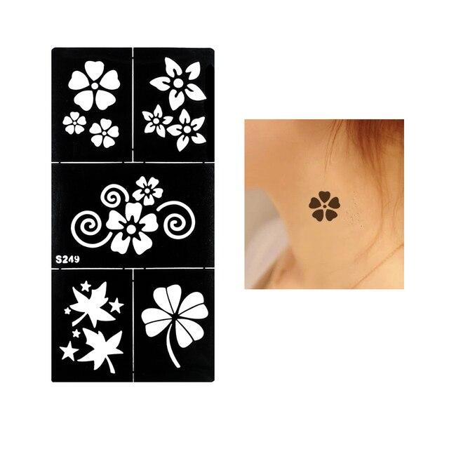 1 Unid Negro Henna Tatuaje Temporal Flor De Cuatro Hojas Del Trébol